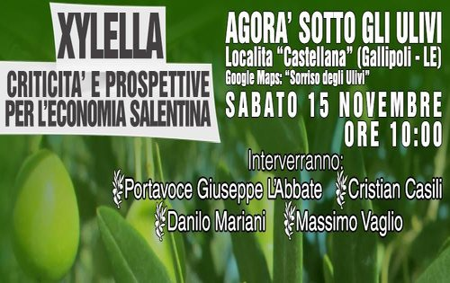 """Si terrà domani, sabato 15 novembre, il dibattito pubblico """"Xylella – Criticità e prospettive per l'economia salentina"""" a Gallipoli (Lecce)"""