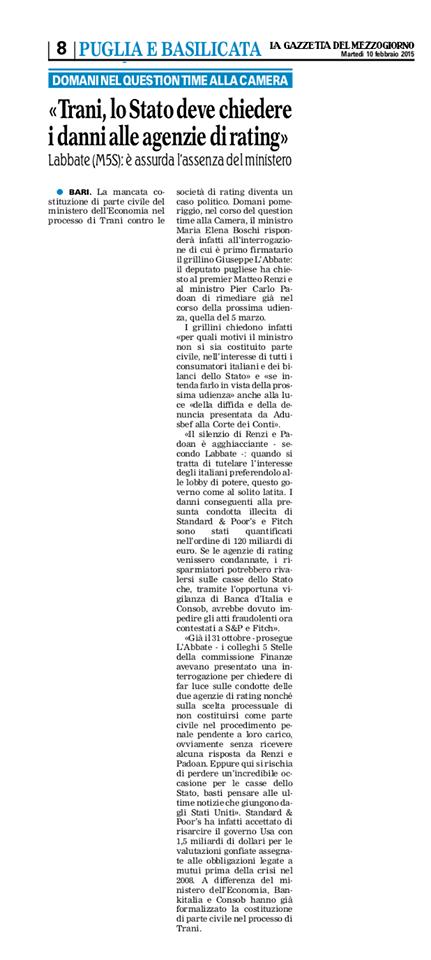 La Gazzetta del Mezzogiorno - edizione 10.02.2015
