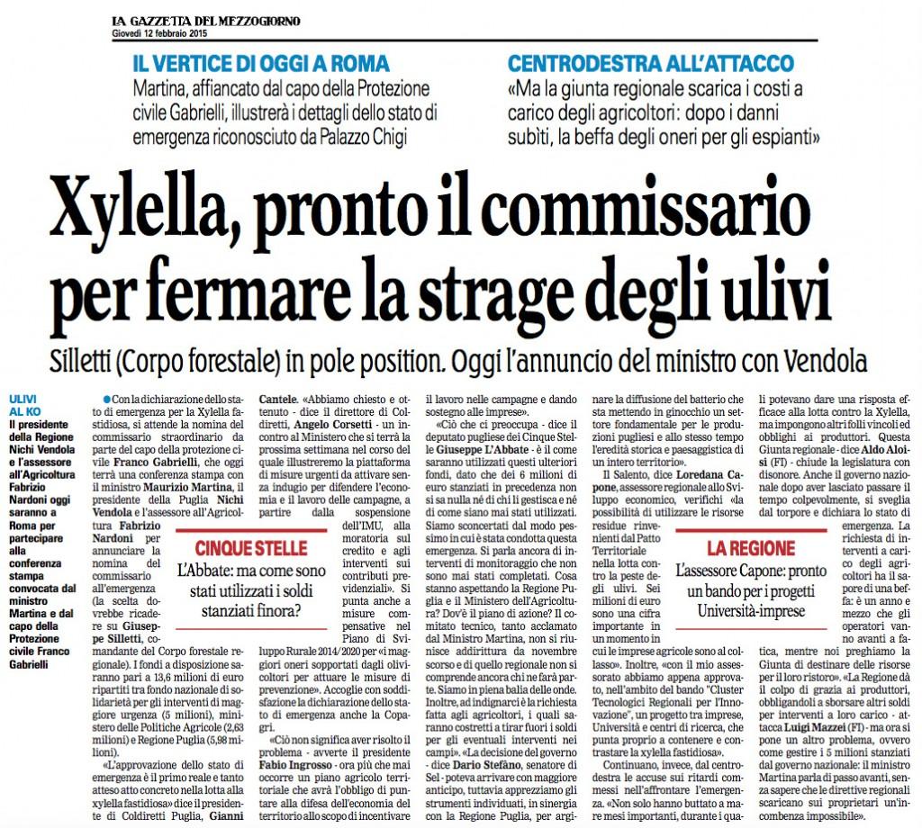 La Gazzetta del Mezzogiorno - 12.02.2015