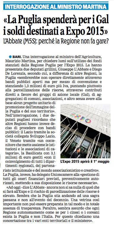 La Gazzetta del Mezzogiorno - 15.02.2015