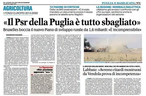 Con un documento di 72 pagine e ben 640 osservazioni, la Commissione europea critica duramente il PSR 2014-2020 presentato ad ottobre dalla Regione Puglia