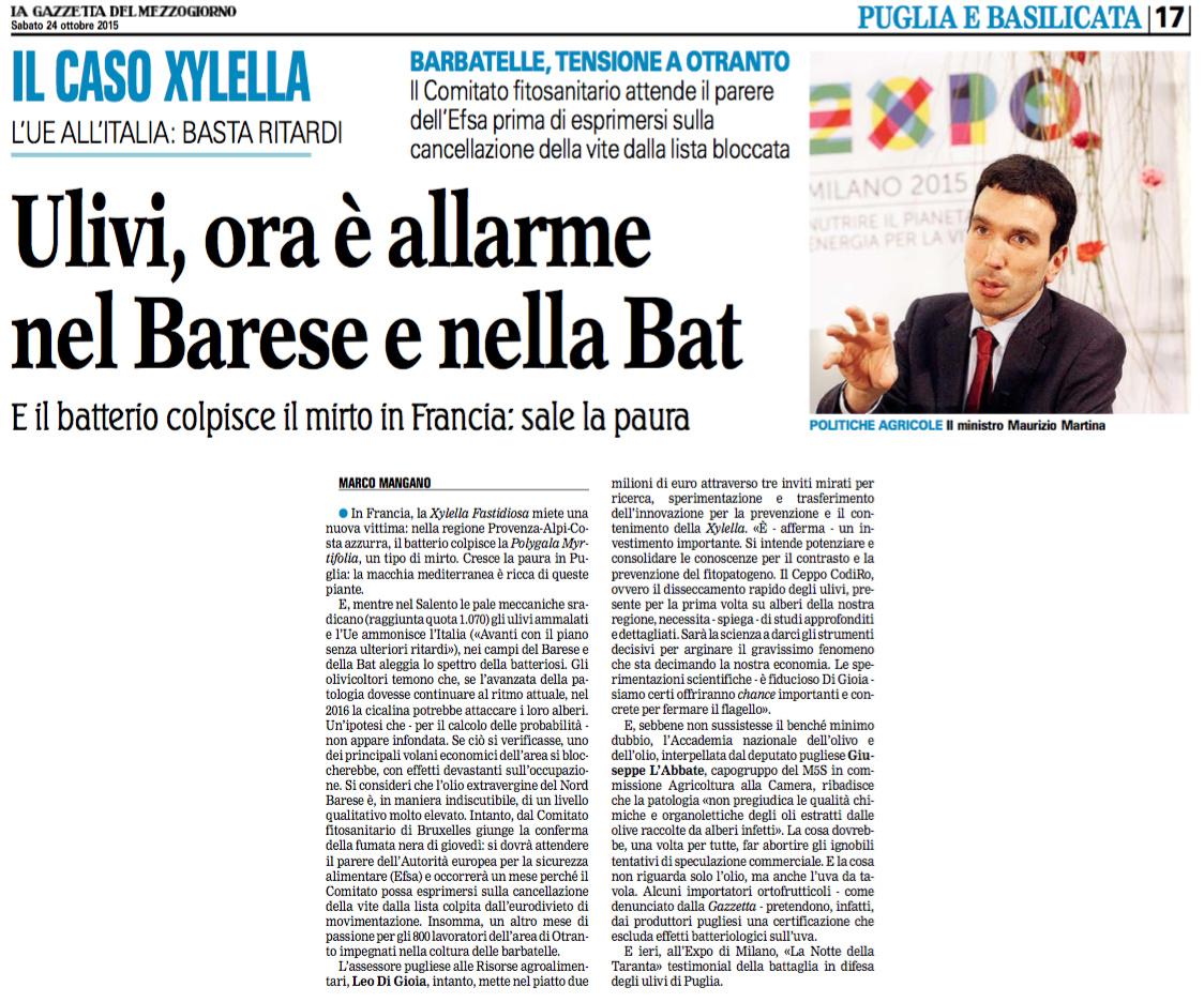La Gazzetta del Mezzogiorno - 24.10.2015
