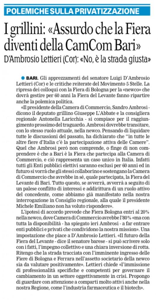 La Gazzetta del Mezzogiorno - 20.01.2016