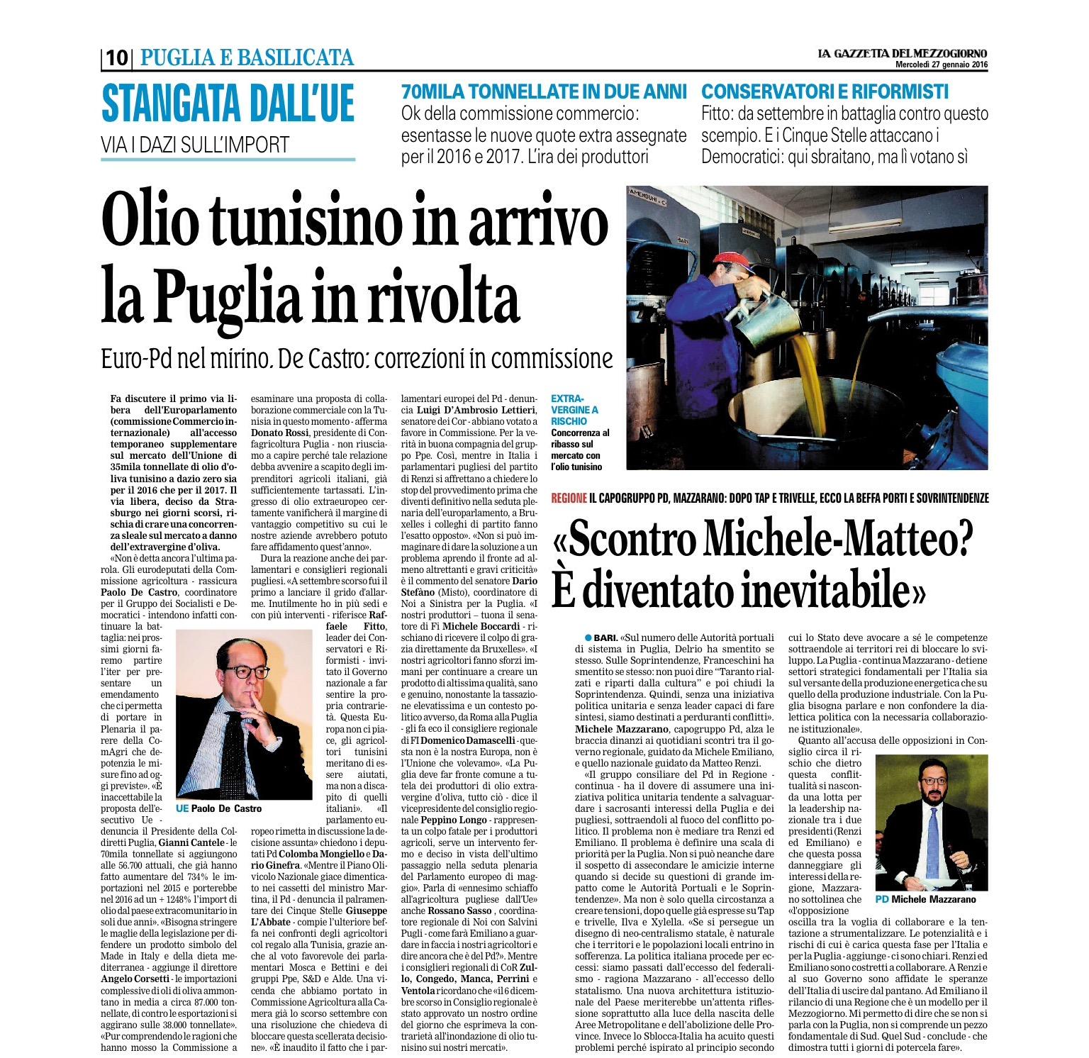 La Gazzetta del Mezzogiorno - 27.01.2016