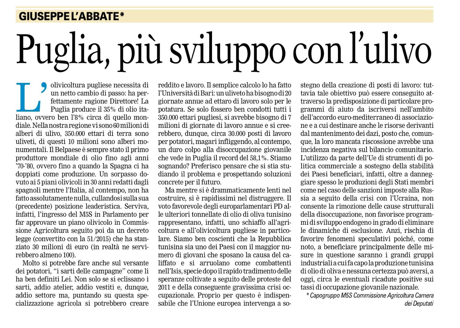 La Gazzetta del Mezzogiorno - 29.01.2016