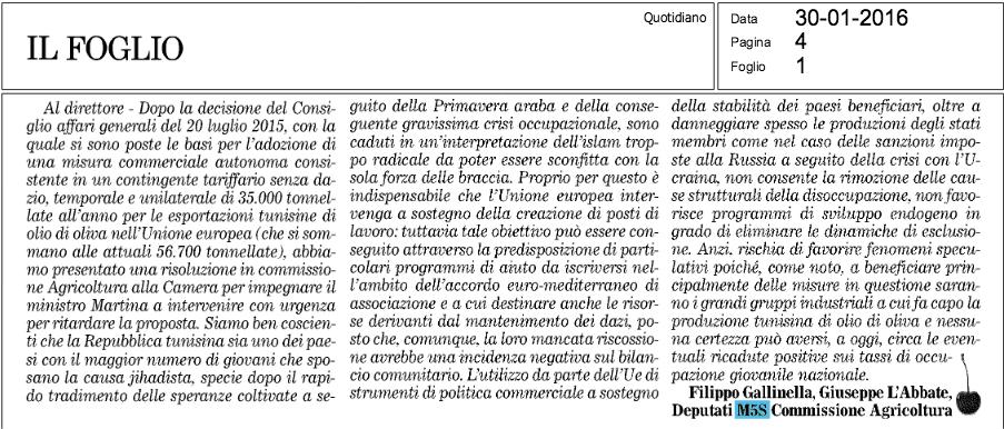 Il Foglio - 30.01.2016