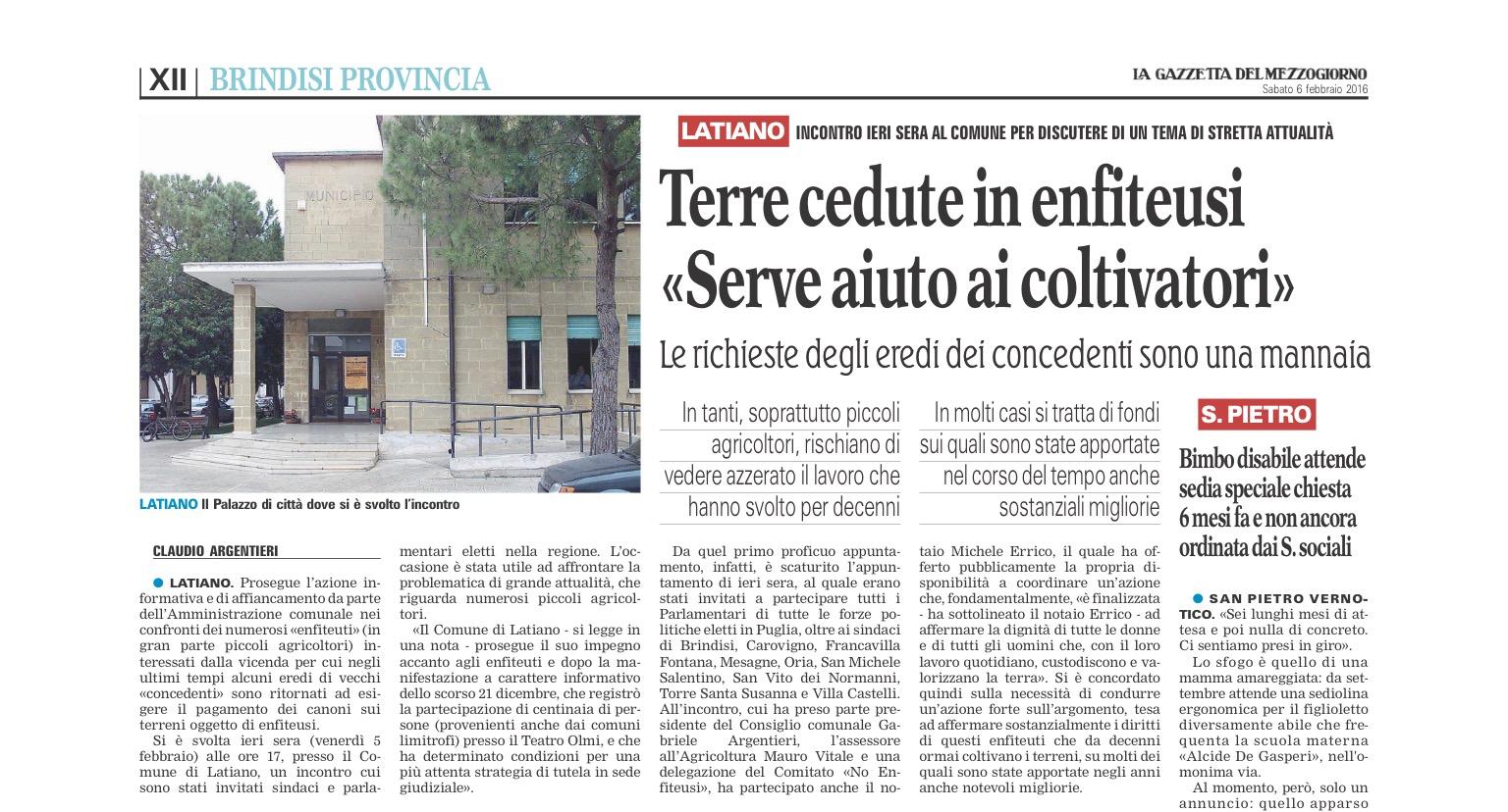 La Gazzetta del Mezzogiorno - 06.02.2016