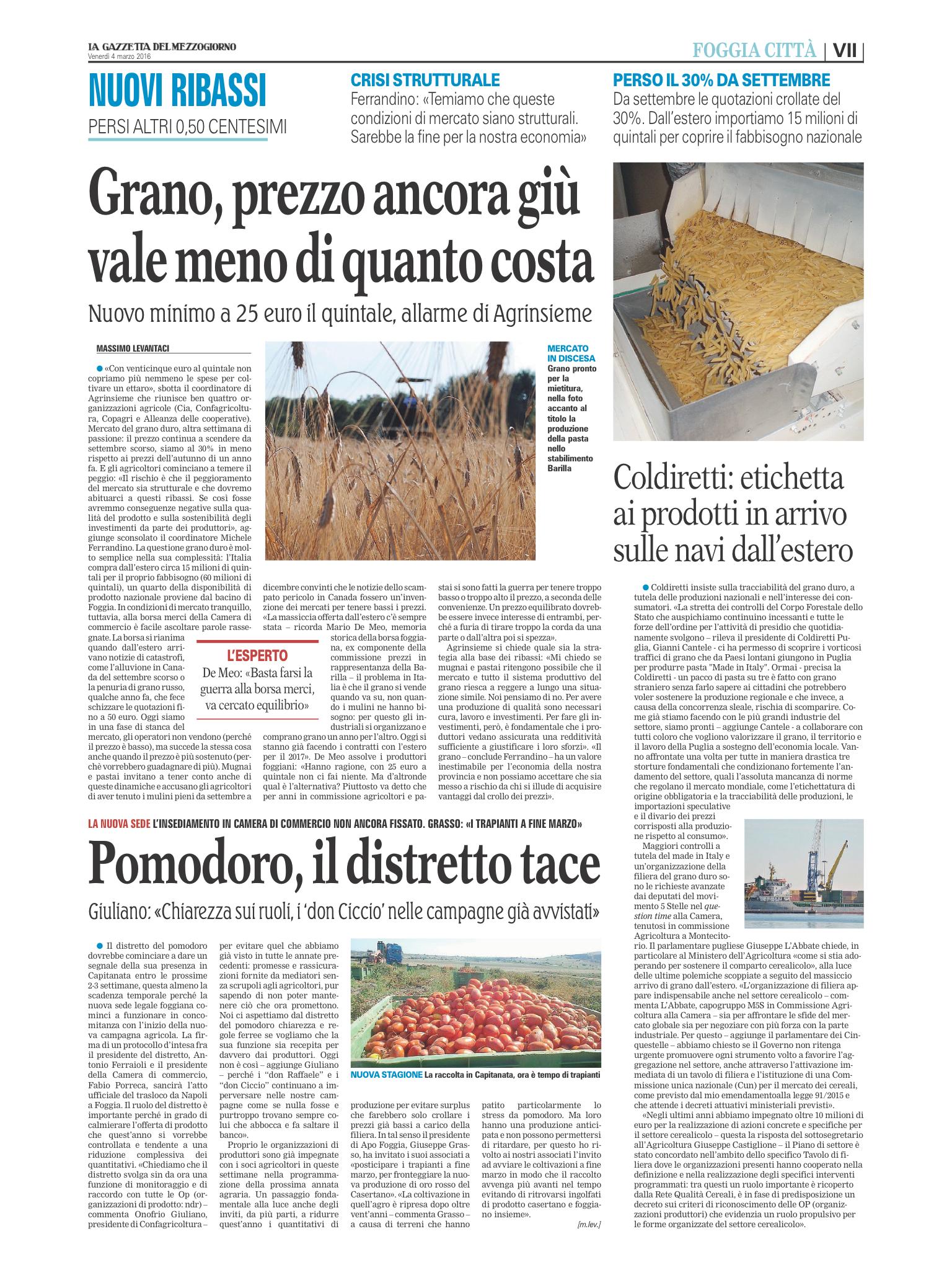La Gazzetta del Mezzogiorno - 04.03.2016