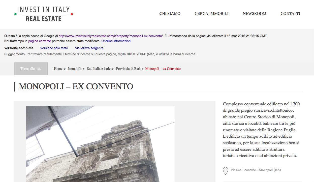 Il Convento di Monopoli su Investinitalyrealestate.com