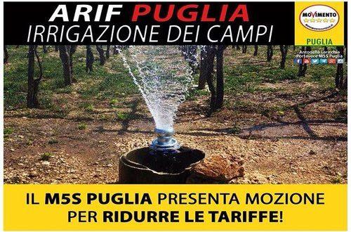 Il M5S presenta una mozione in Regione Puglia per chiedere la riduzione delle tariffe per l'irrigazione in agricoltura dell'Ente regionale Arif