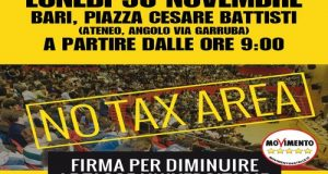Lunedì 30 novembre, M5S in piazza presso l'Ateneo di Bari per raccogliere le firme per la diminuzione delle tasse universitarie