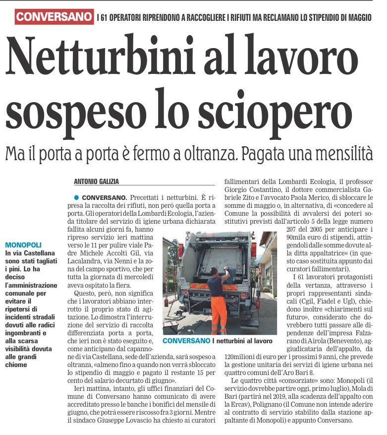 La Gazzetta del Mezzogiorno - 01.07.2016
