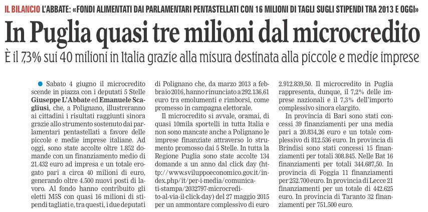 La Gazzetta del Mezzogiorno - 02.06.2016