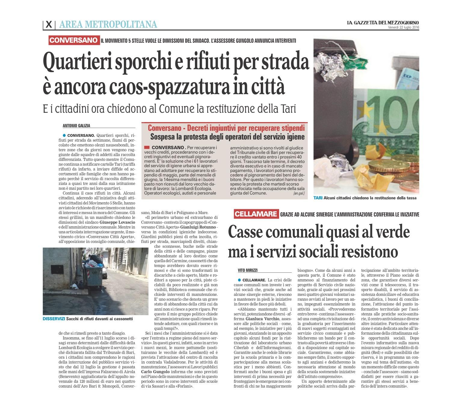 La Gazzetta del Mezzogiorno - 22.07.2016