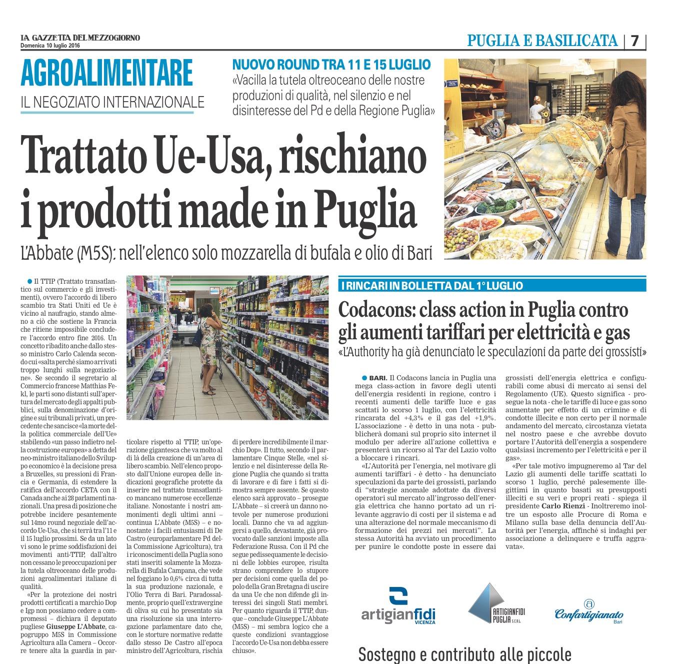La Gazzetta del Mezzogiorno - 10.07.2016