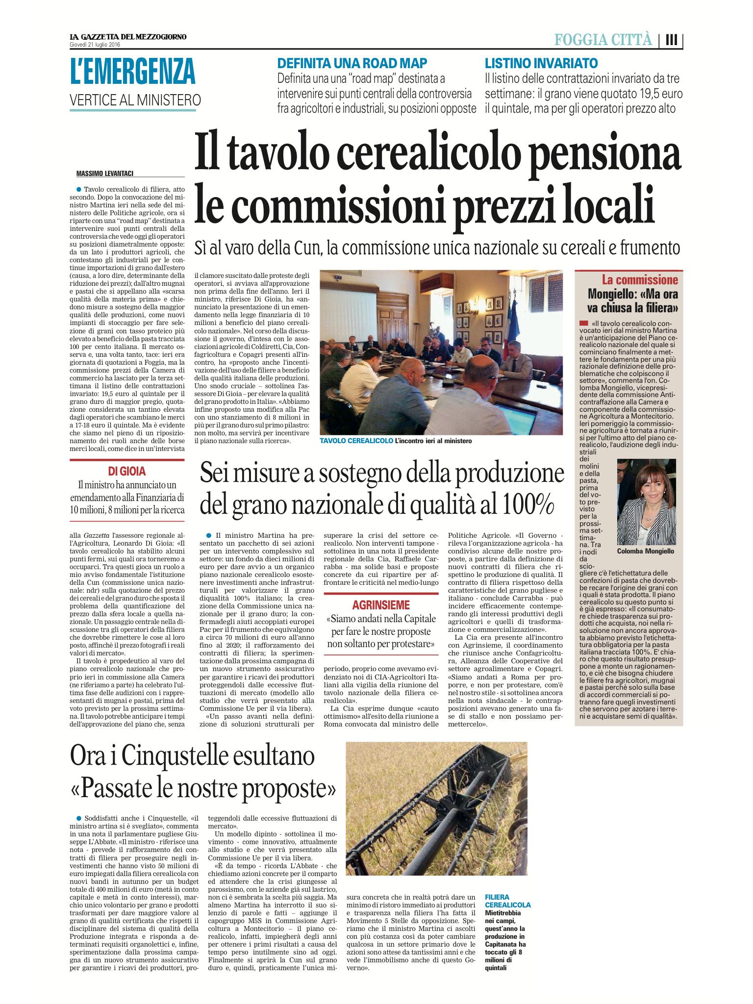 La Gazzetta del Mezzogiorno - 21.07.2016