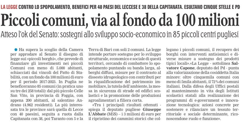 La Gazzetta del Mezzogiorno - 01.10.2016