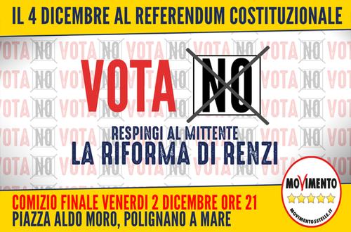 Sarò in piazza Moro a Polignano venerdì 2 dicembre, alle ore 21:00 per il comizio conclusivo in vista del referendum costituzionale