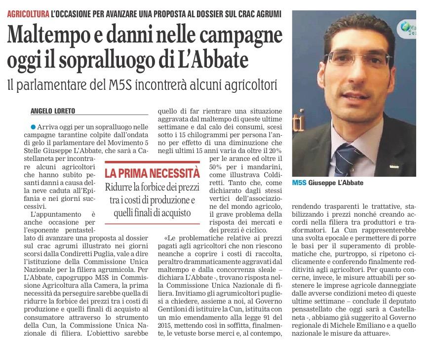 La Gazzetta del Mezzogiorno - 20.01.2017