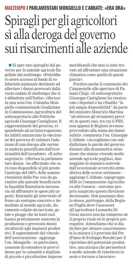 La Gazzetta del Mezzogiorno - 26.01.2017