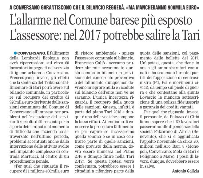 La Gazzetta del Mezzogiorno - 09.06.2016