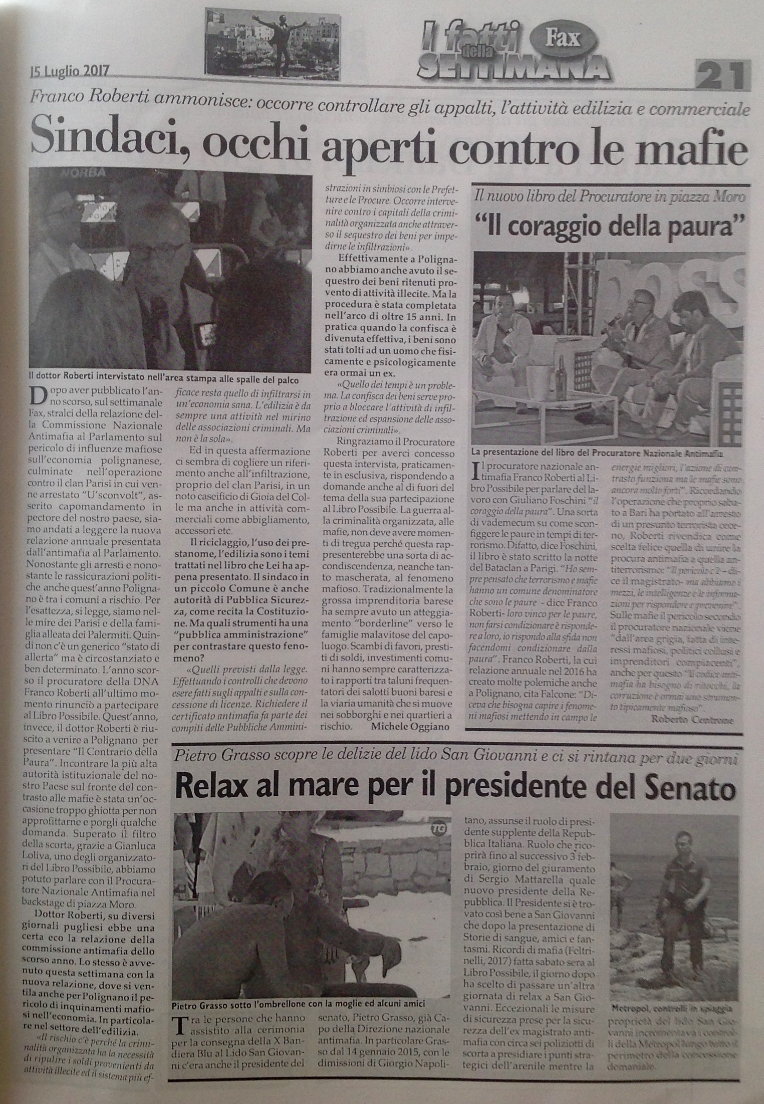 Intervista a Franco Roberti - Settimanale FAX - 15.07.2017
