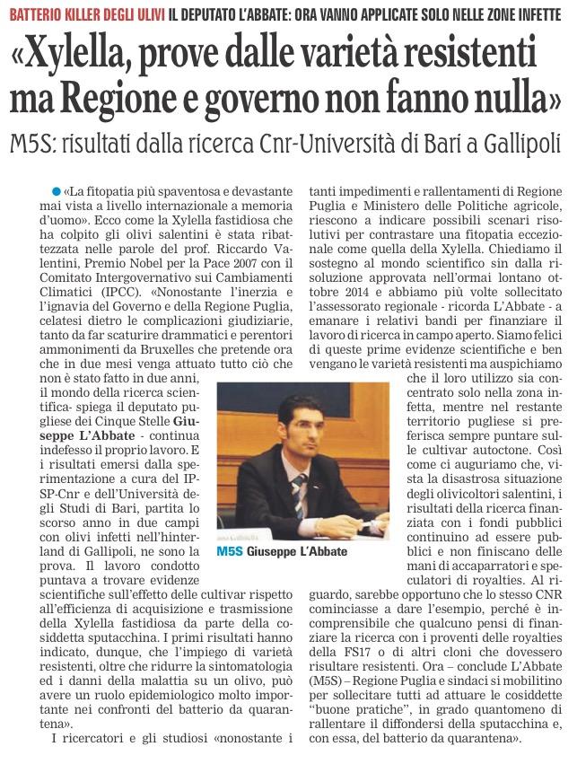 La Gazzetta del Mezzogiorno - 25.07.2017