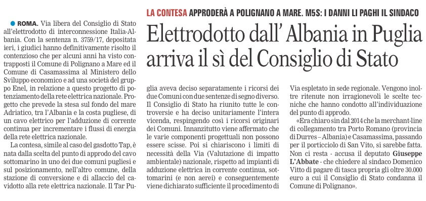 La Gazzetta del Mezzogiorno - 28.07.2017