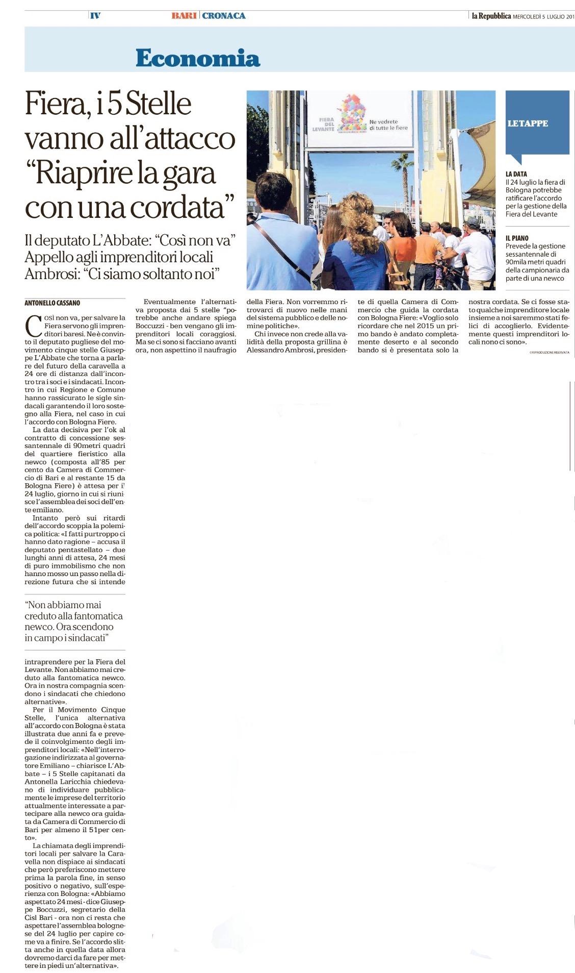 La Repubblica Bari - 05.07.2017