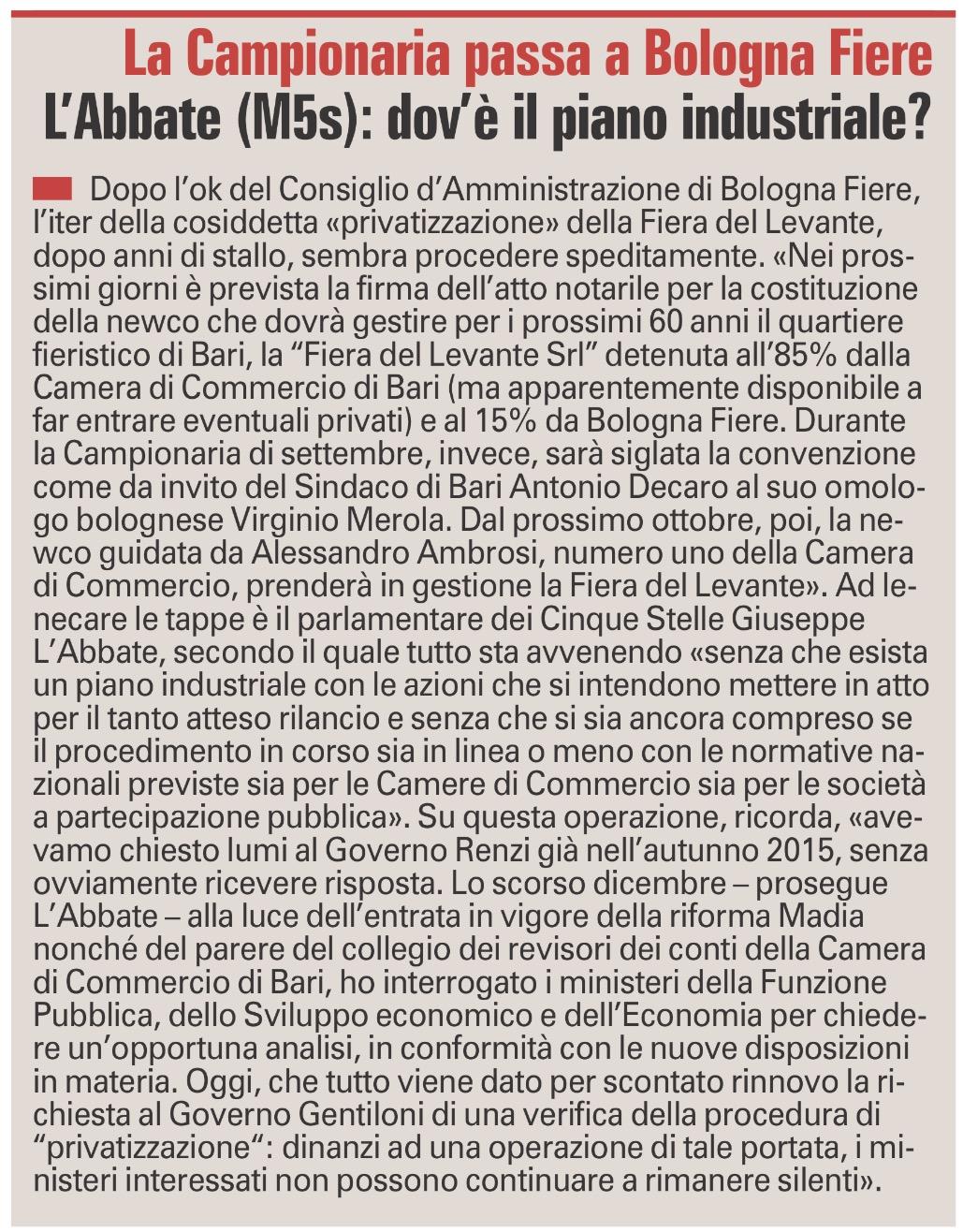 La Gazzetta del Mezzogiorno - 08.03.2017