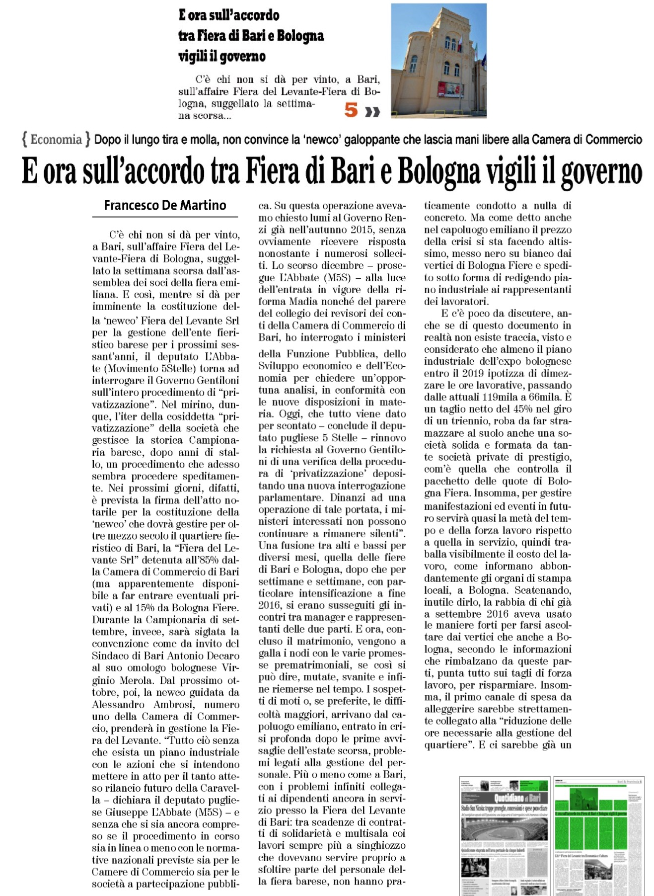 Il Quotidiano di Bari - 03.08.2017