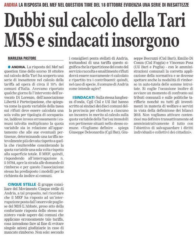 La Gazzetta del Mezzogiorno BAT - 04.11.2017
