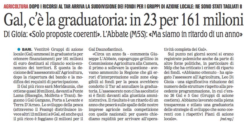 La Gazzetta del Mezzogiorno - 18.09.2017