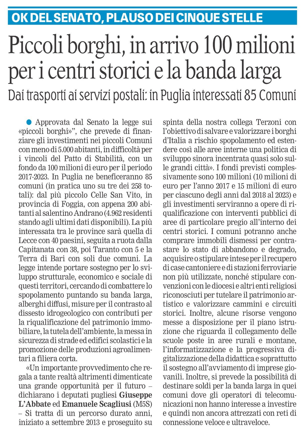 La Gazzetta del Mezzogiorno - 03.10.2017