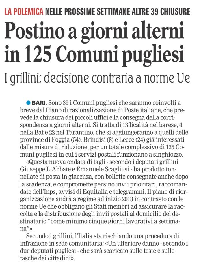 La Gazzetta del Mezzogiorno - 30.10.2017