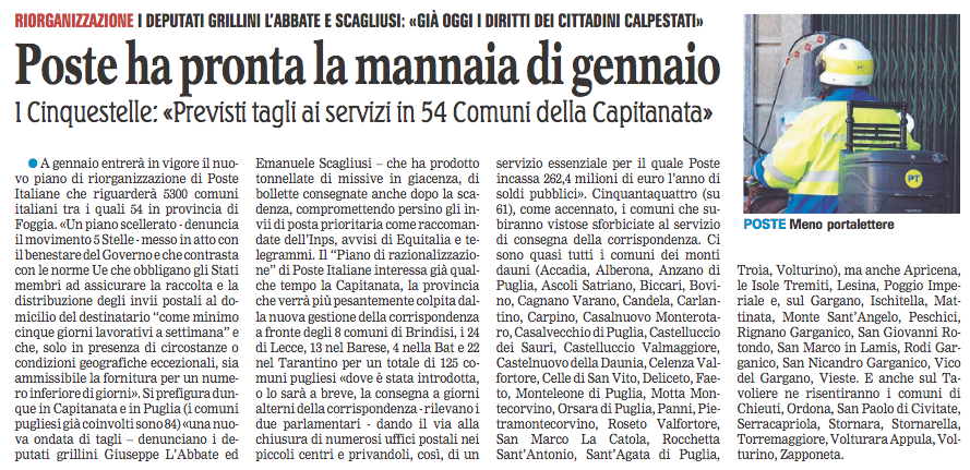 La Gazzetta del Mezzogiorno - 07.01.2018