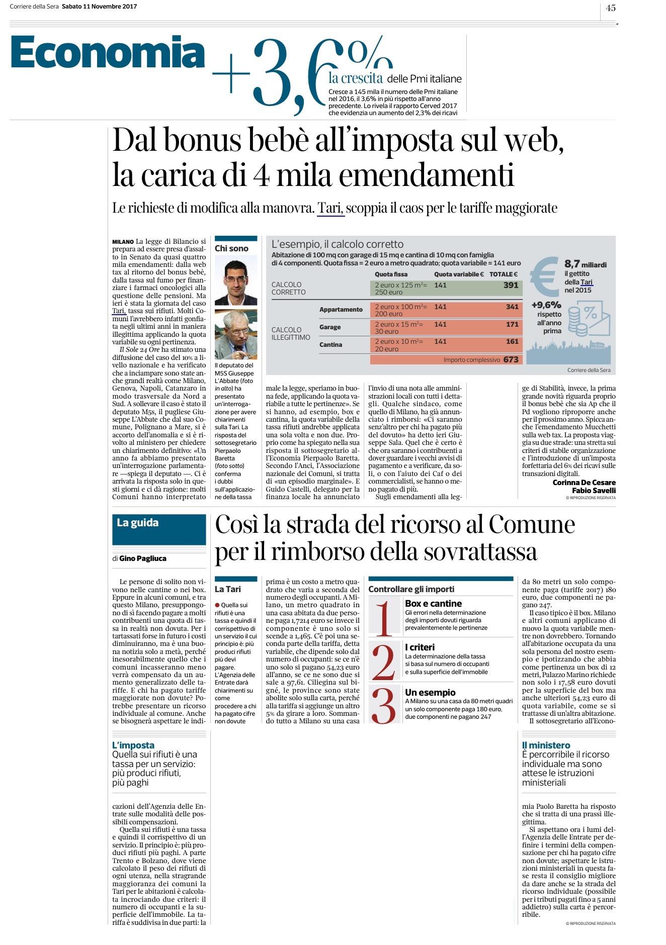 Il Corriere della Sera - 11.11.2017