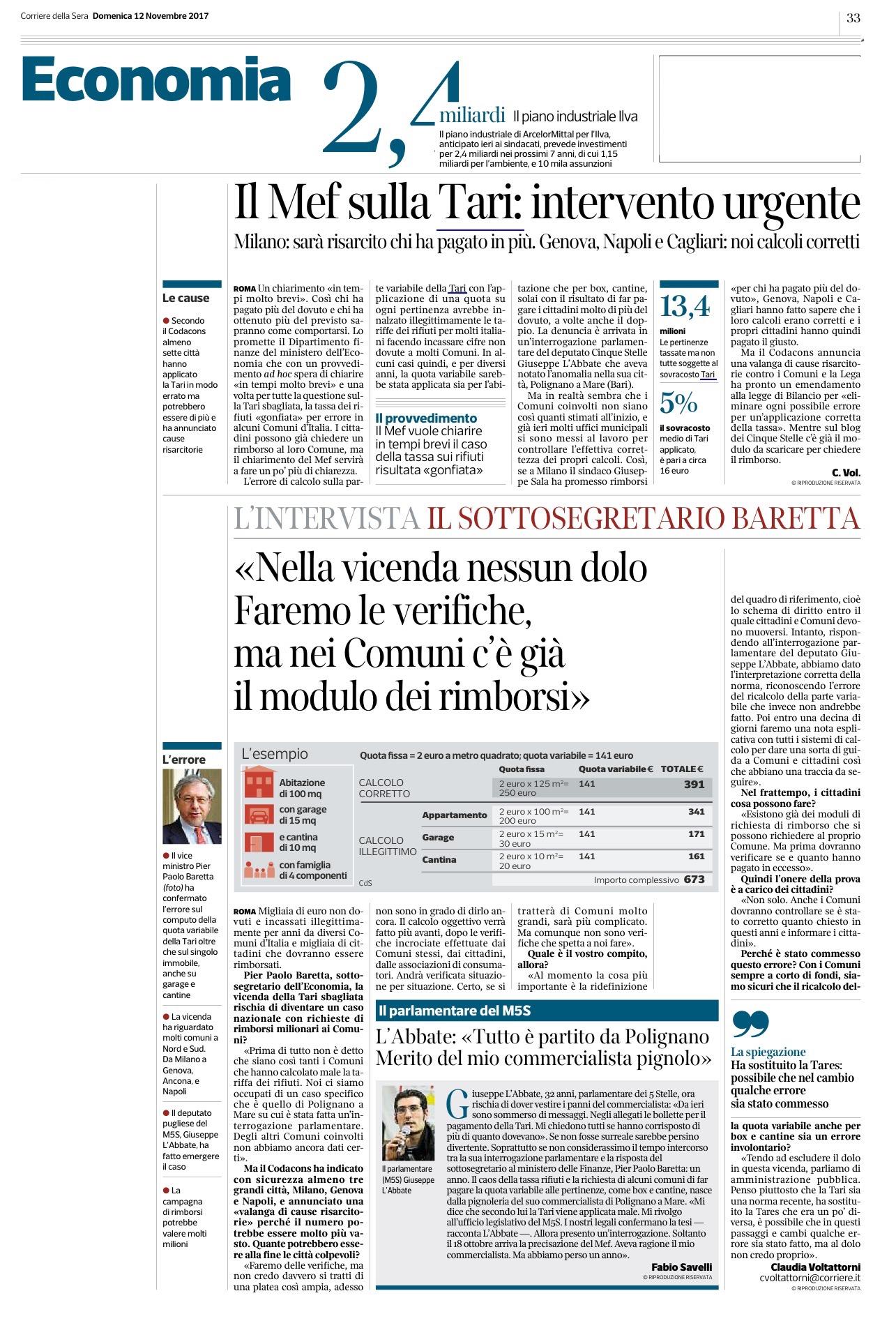 Il Corriere della Sera - 12.11.2017