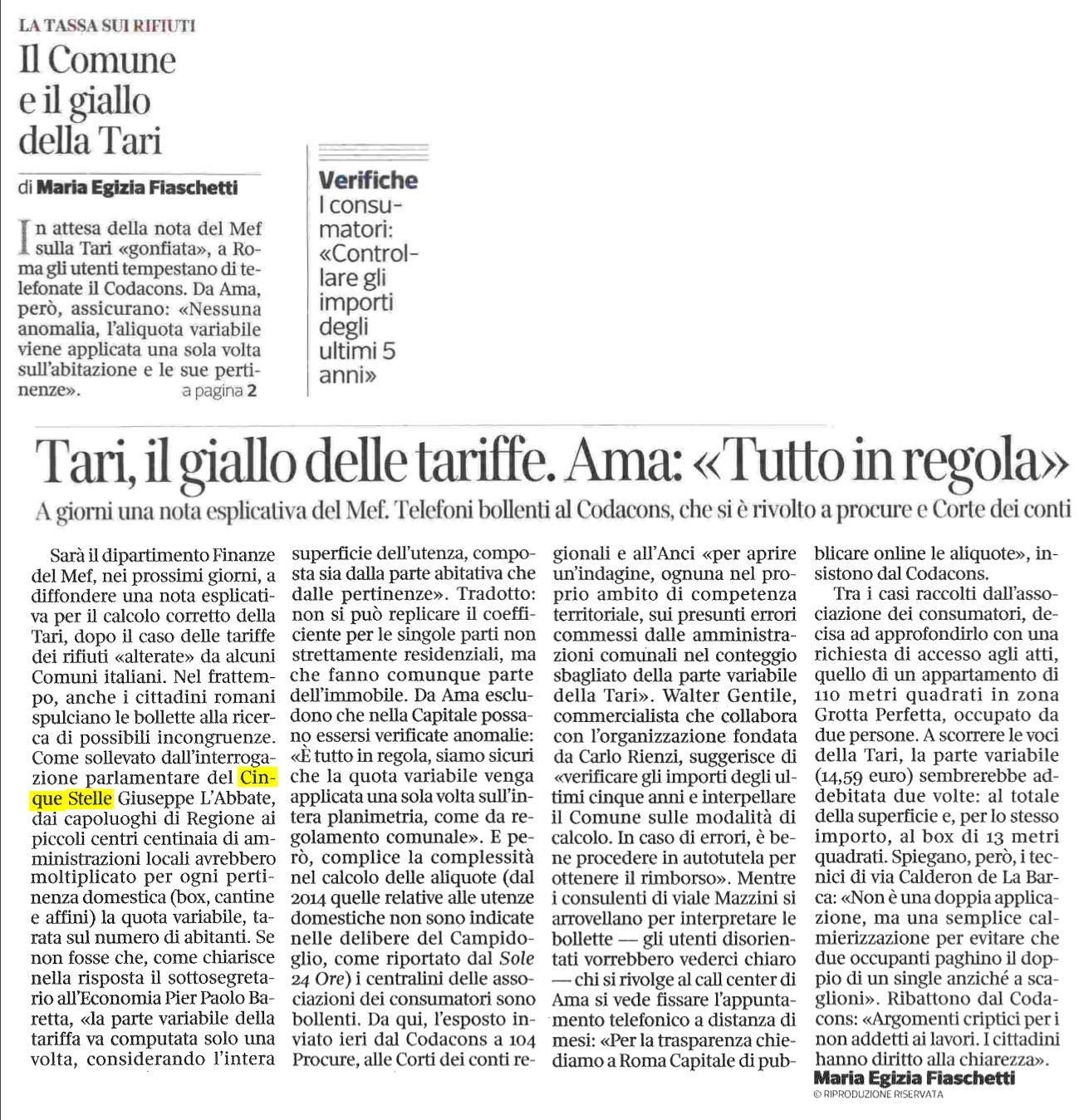 Il Corriere della Sera - Roma - 14.11.2017