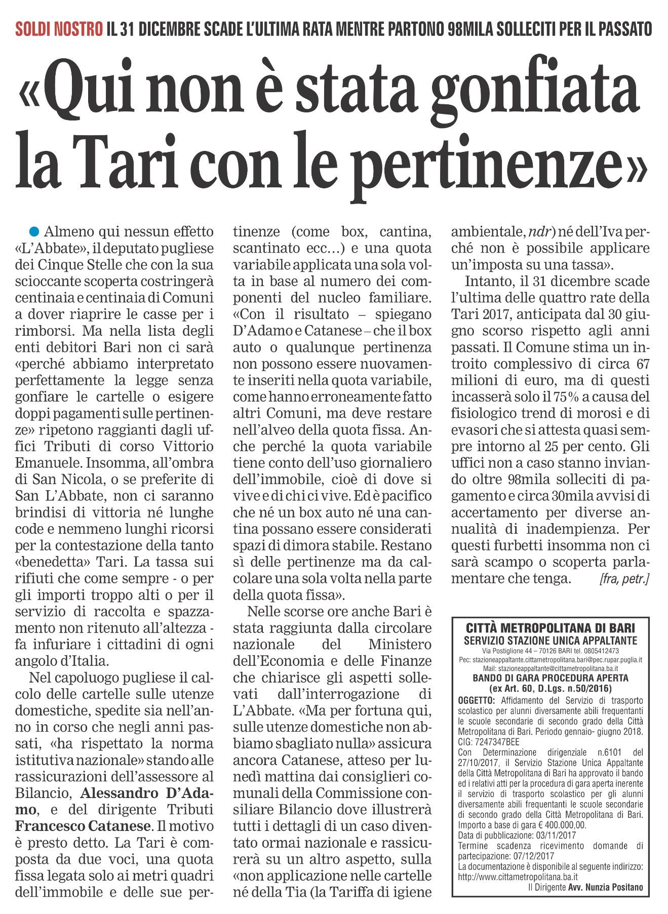 La Gazzetta del Mezzogiorno - Bari - 11.11.2017