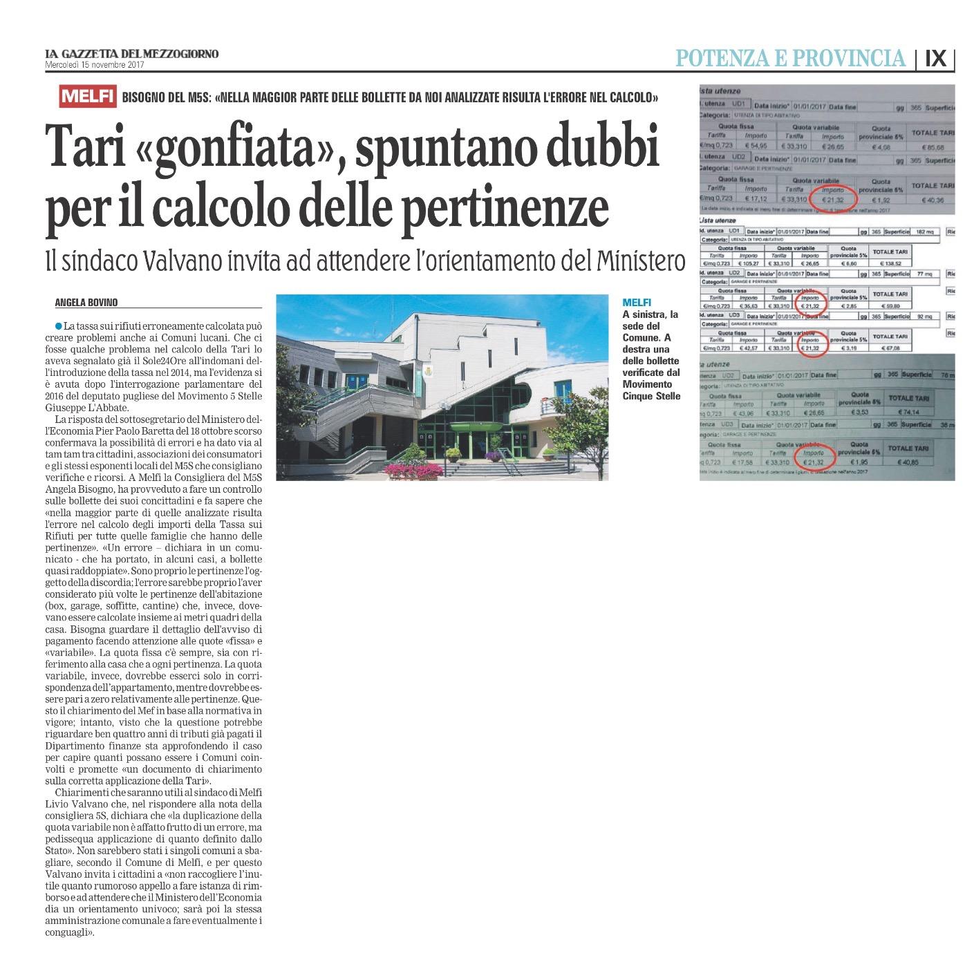 La Gazzetta del Mezzogiorno - Basilicata - 15.11.2017