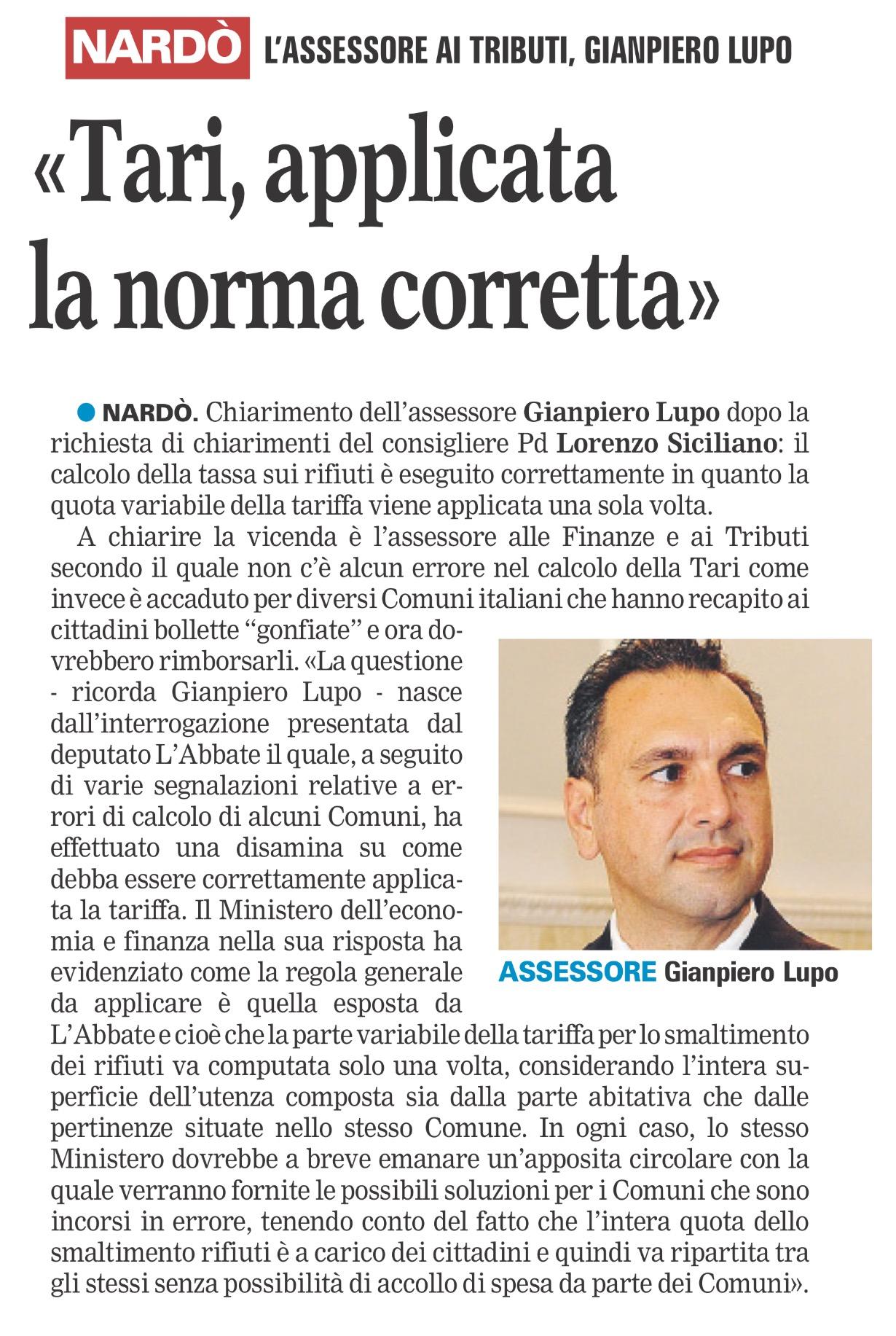 La Gazzetta del Mezzogiorno - Lecce - 19.11.2017