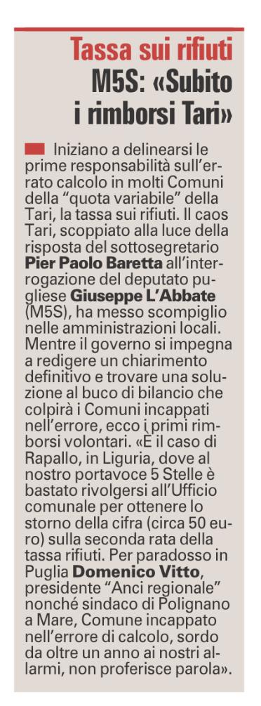 La Gazzetta del Mezzogiorno - 18.11.2017