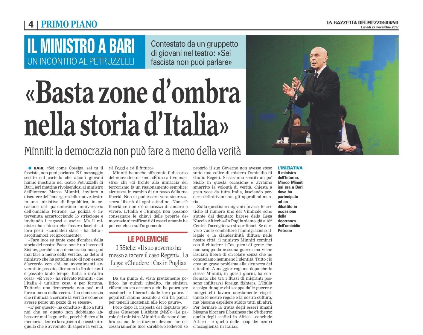 La Gazzetta del Mezzogiorno - 27.11.2017