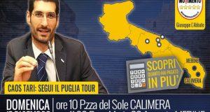 Dopo Polignano a Mare, Conversano, Putignano e Ruvo di Puglia il Tari Tour M5S arriva in Salento a Calimera e Merine (Lizzanello)