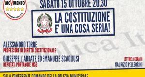 """Si terrà sabato 15 ottobre, a partire dalle 20.30, l'evento """"La Costituzione è una cosa seria!"""" organizzato dagli Attivisti M5S di Polignano in vista del Referendum Costituzionale"""