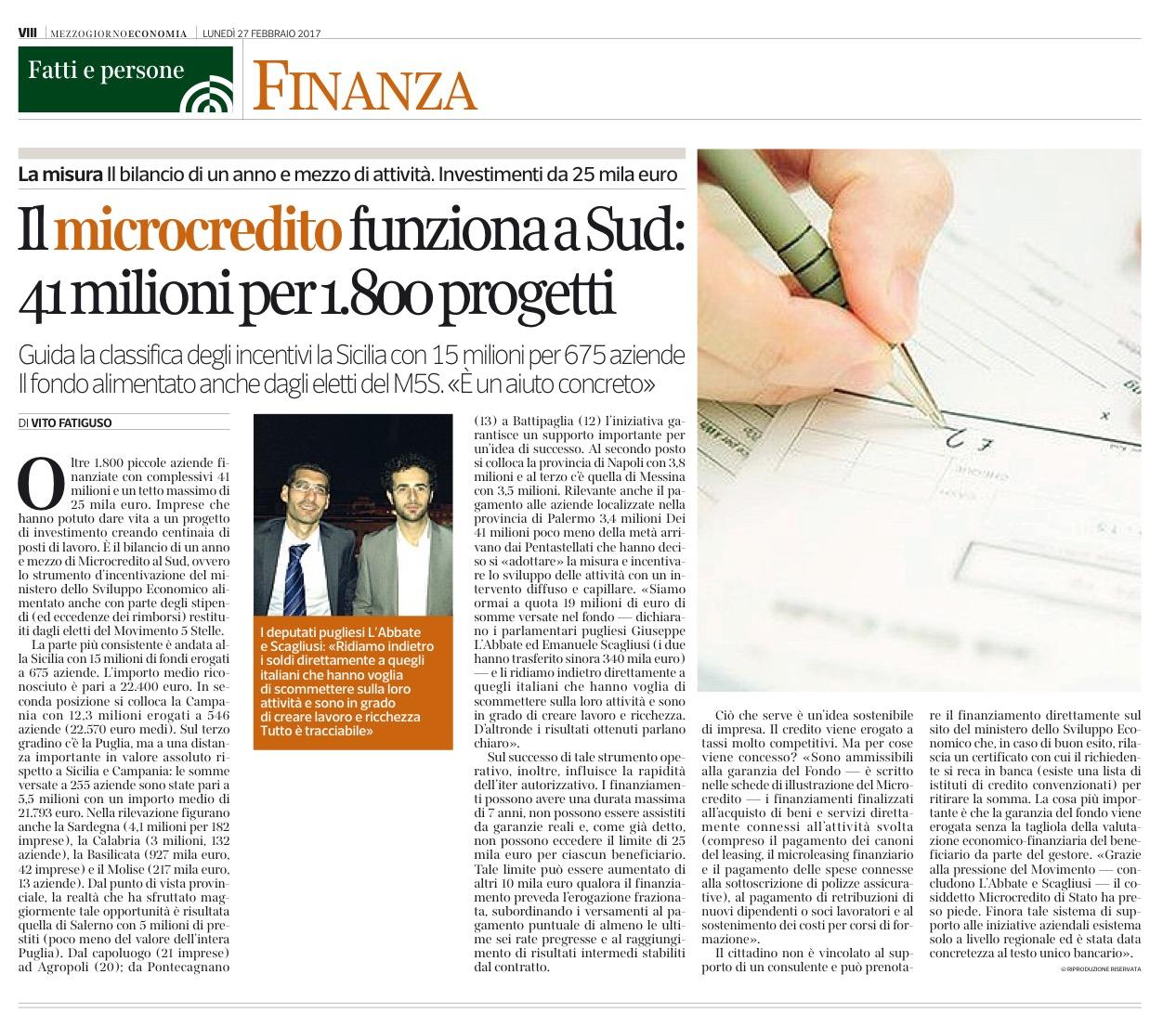 Il Corriere del Mezzogiorno Economia - 27.02.2017