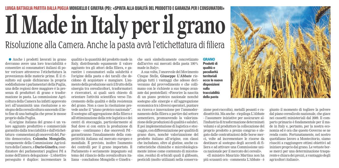 La Gazzetta del Mezzogiorno - 29.09.2016