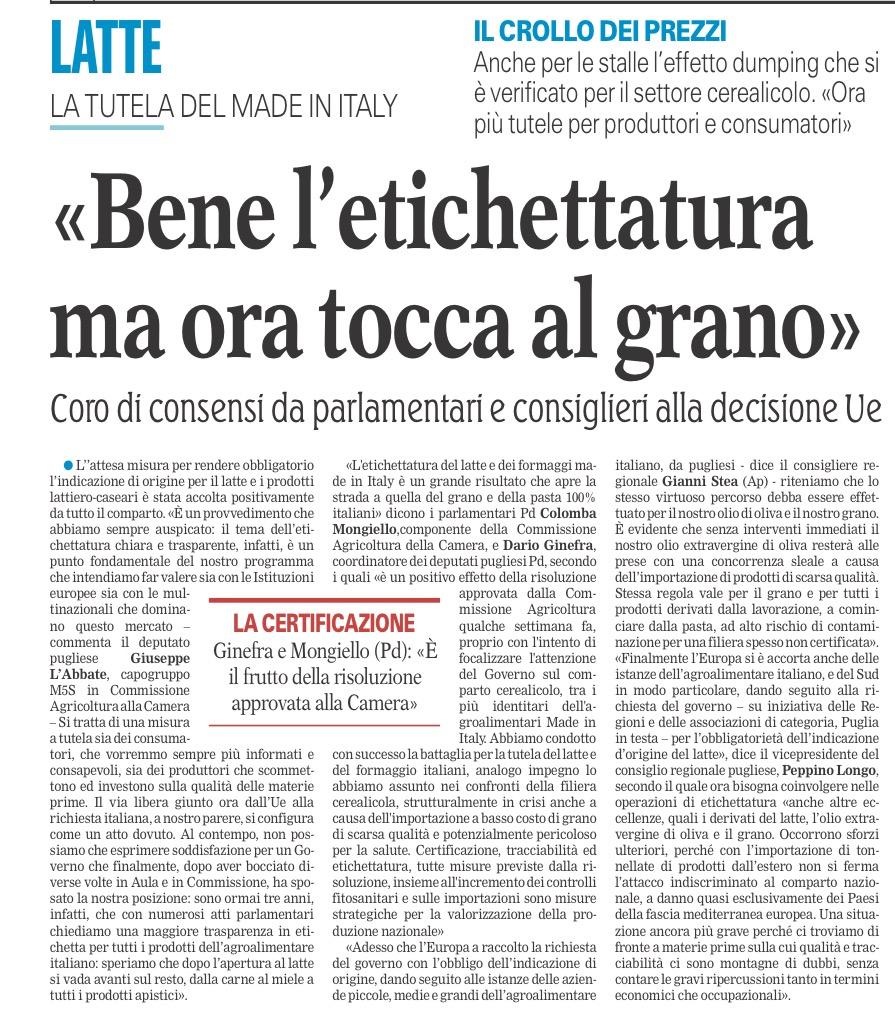 La Gazzetta del Mezzogiorno - 17.10.2016