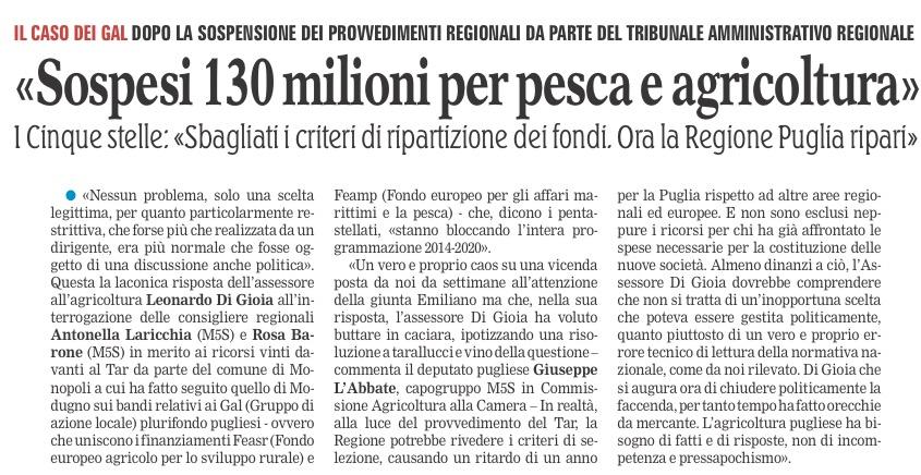 La Gazzetta del Mezzogiorno - 10.11.2016